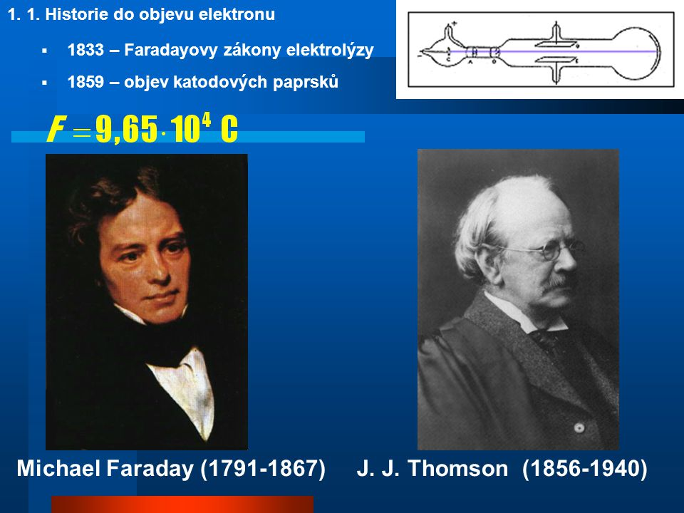 Michael Faraday (1791-1867) J. J. Thomson (1856-1940)