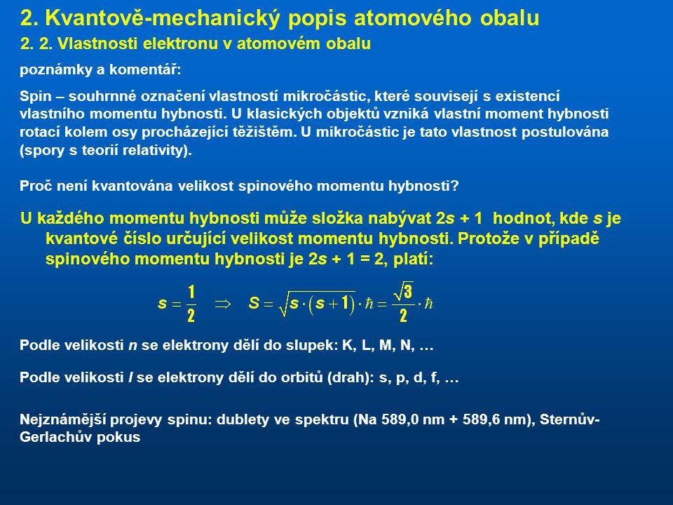 2. Kvantově-mechanický popis atomového obalu