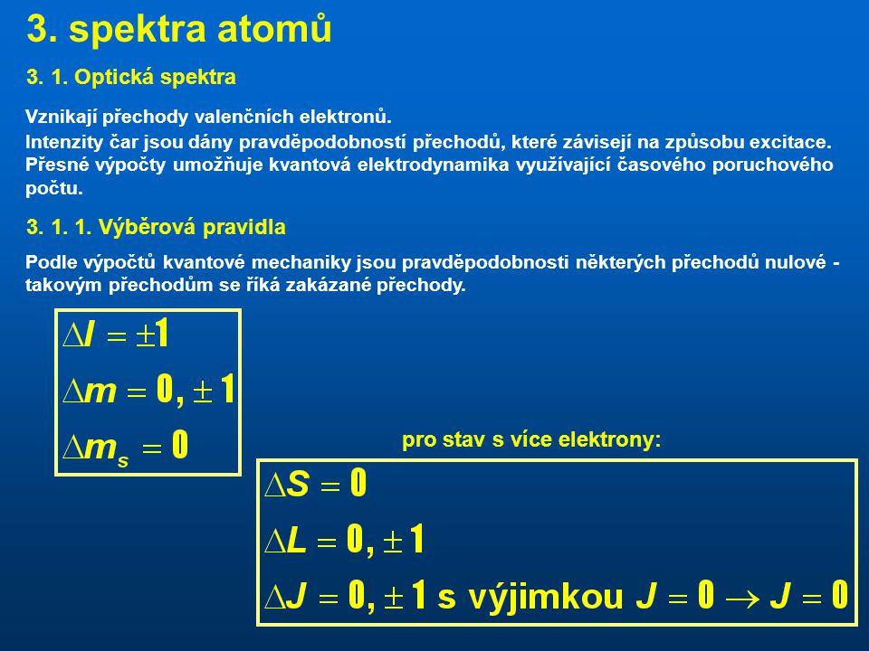 3. spektra atomů 3. 1. Optická spektra 3. 1. 1. Výběrová pravidla