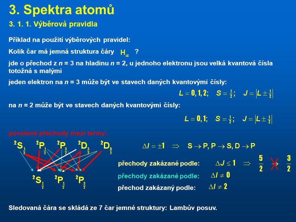 3. Spektra atomů 3. 1. 1. Výběrová pravidla