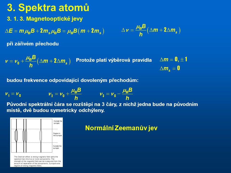 3. Spektra atomů Normální Zeemanův jev 3. 1. 3. Magnetooptické jevy