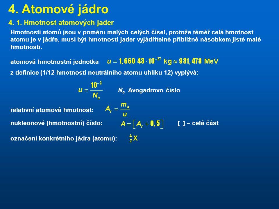4. Atomové jádro 4. 1. Hmotnost atomových jader