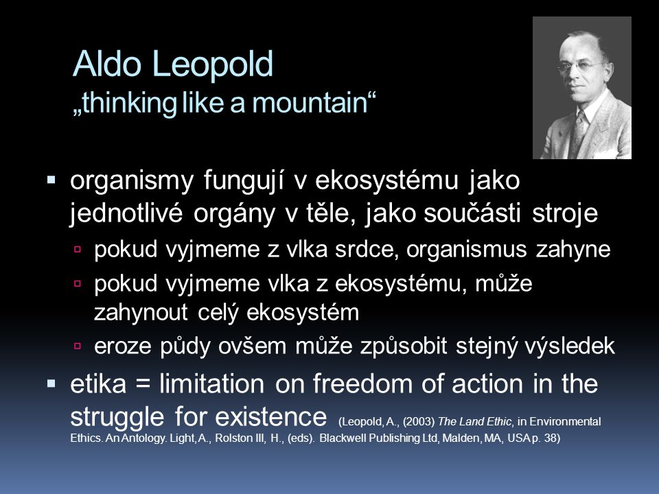 "Aldo Leopold ""thinking like a mountain"