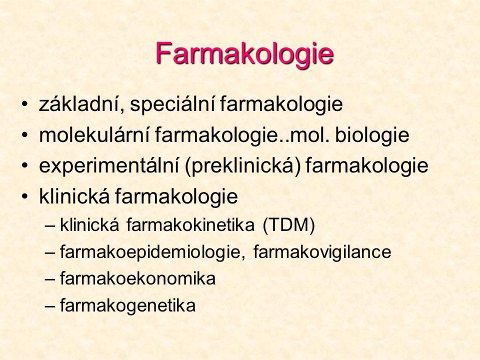 Farmakologie základní, speciální farmakologie