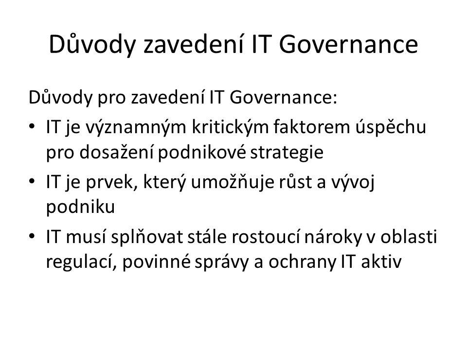 Důvody zavedení IT Governance