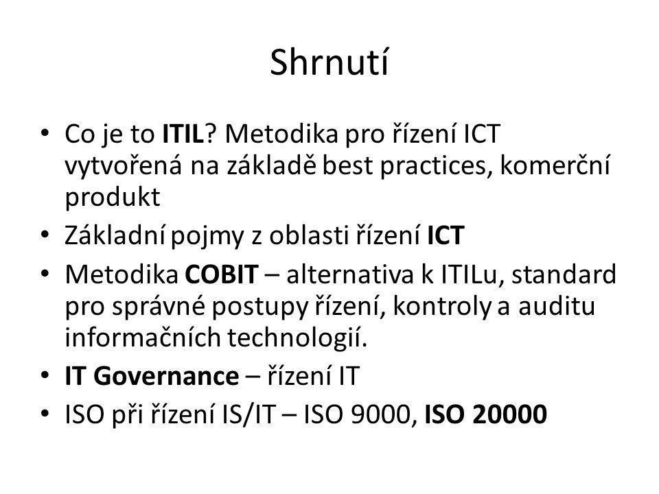 Shrnutí Co je to ITIL Metodika pro řízení ICT vytvořená na základě best practices, komerční produkt.