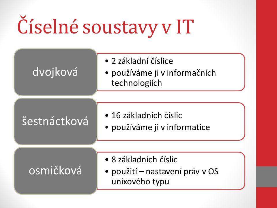 Číselné soustavy v IT dvojková šestnáctková osmičková