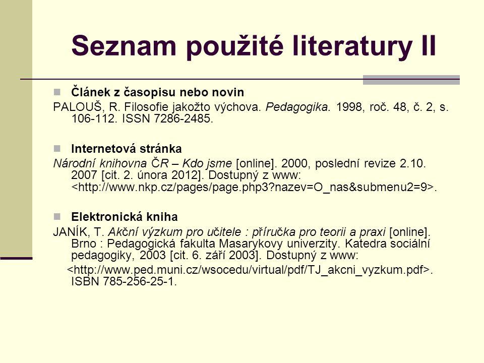 Seznam použité literatury II