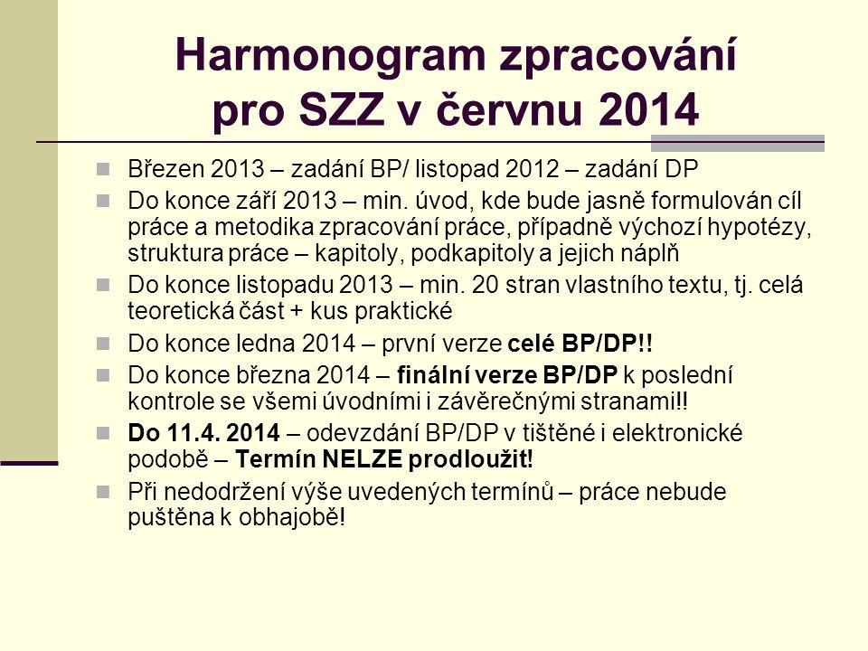 Harmonogram zpracování pro SZZ v červnu 2014