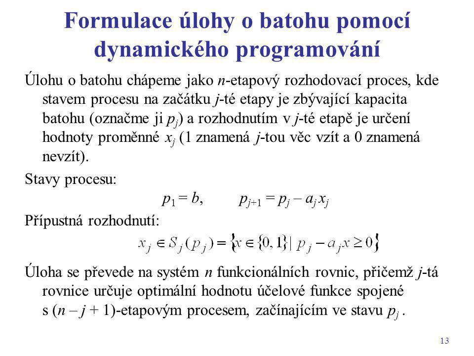 Formulace úlohy o batohu pomocí dynamického programování