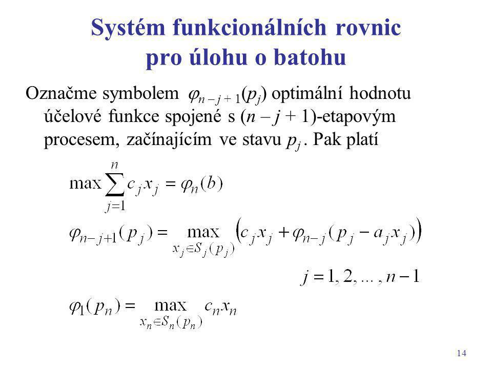 Systém funkcionálních rovnic pro úlohu o batohu