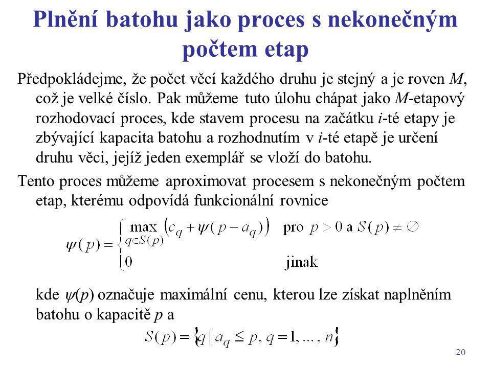 Plnění batohu jako proces s nekonečným počtem etap