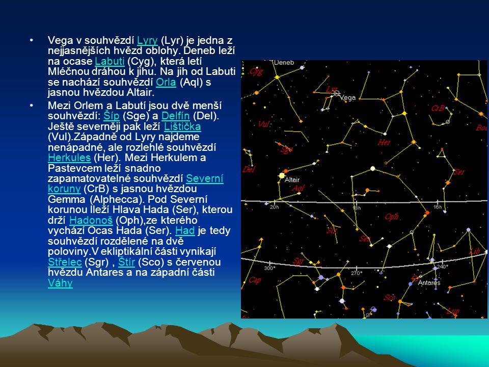 Vega v souhvězdí Lyry (Lyr) je jedna z nejjasnějších hvězd oblohy