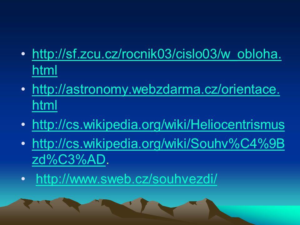 http://sf.zcu.cz/rocnik03/cislo03/w_obloha.html http://astronomy.webzdarma.cz/orientace.html. http://cs.wikipedia.org/wiki/Heliocentrismus.
