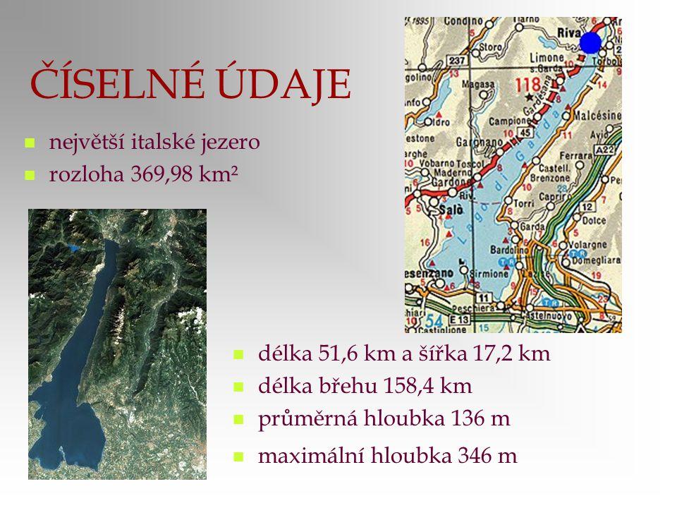 ČÍSELNÉ ÚDAJE největší italské jezero rozloha 369,98 km²