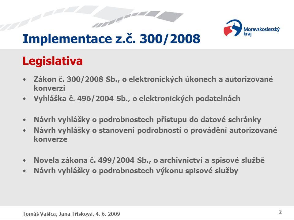 Legislativa Zákon č. 300/2008 Sb., o elektronických úkonech a autorizované konverzi. Vyhláška č. 496/2004 Sb., o elektronických podatelnách.