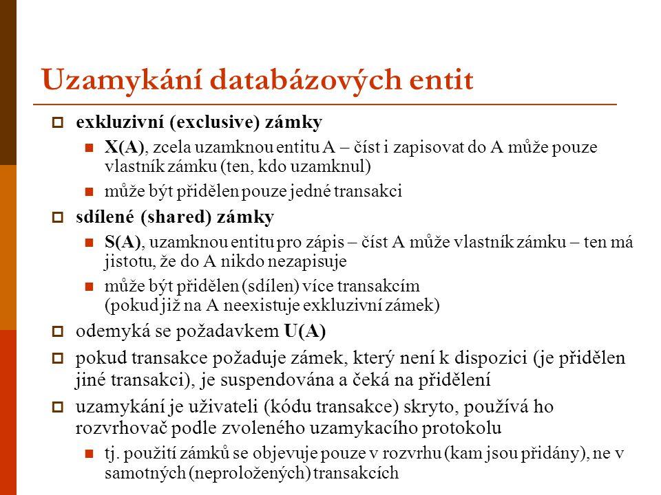 Uzamykání databázových entit