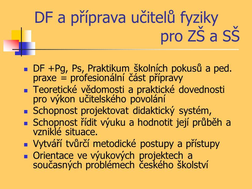 DF a příprava učitelů fyziky pro ZŠ a SŠ