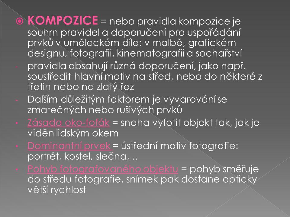 KOMPOZICE = nebo pravidla kompozice je souhrn pravidel a doporučení pro uspořádání prvků v uměleckém díle: v malbě, grafickém designu, fotografii, kinematografii a sochařství