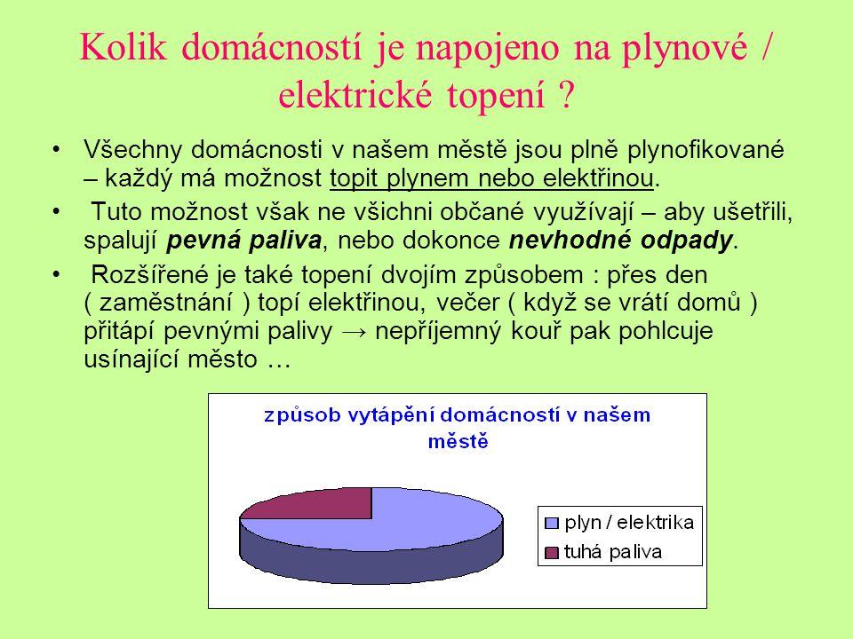 Kolik domácností je napojeno na plynové / elektrické topení
