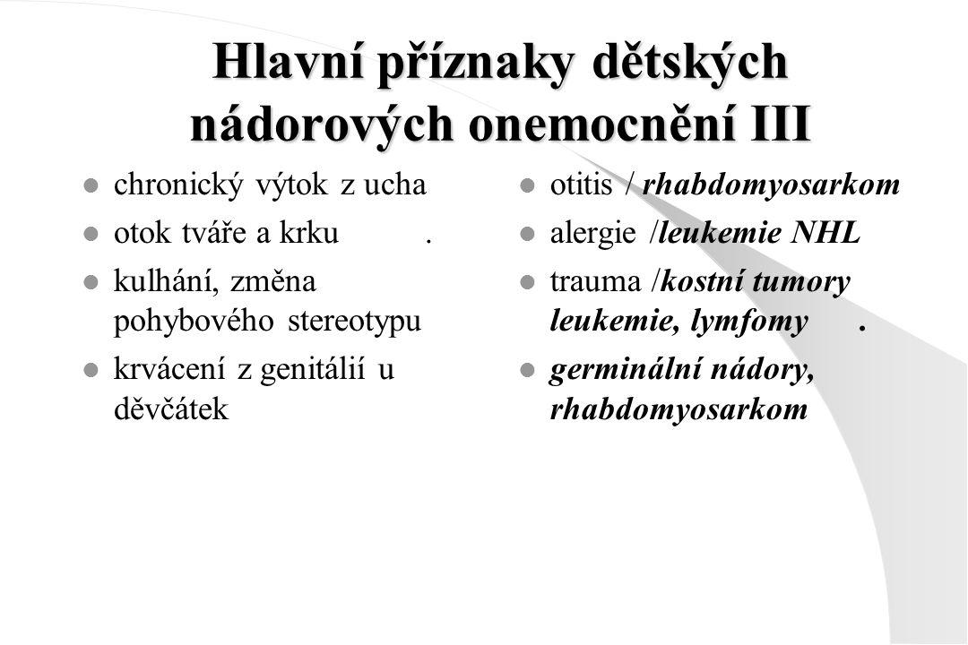 Hlavní příznaky dětských nádorových onemocnění III