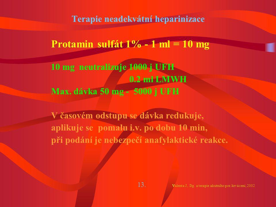 Terapie neadekvátní heparinizace
