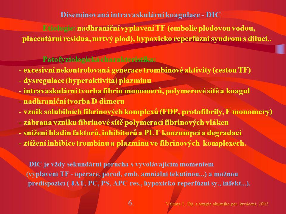 Diseminovaná intravaskulární koagulace - DIC
