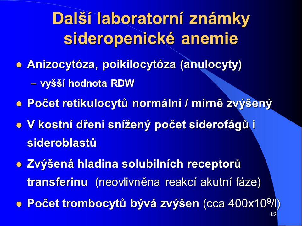 Další laboratorní známky sideropenické anemie