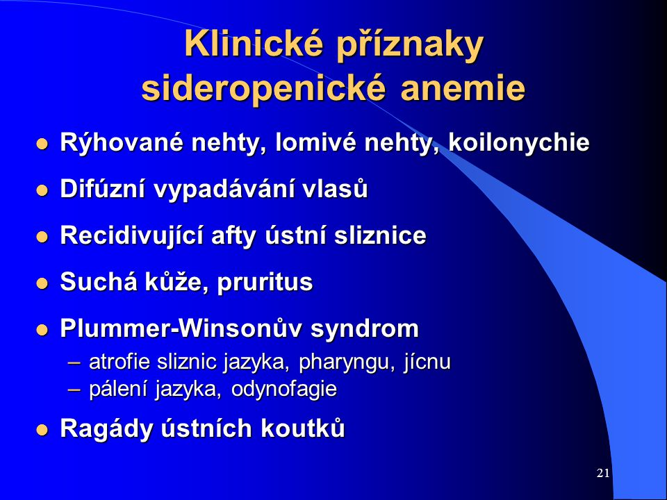 Klinické příznaky sideropenické anemie