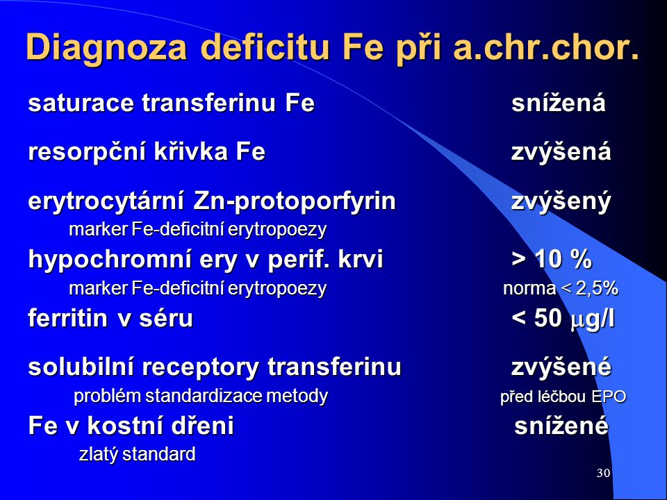 Diagnoza deficitu Fe při a.chr.chor.