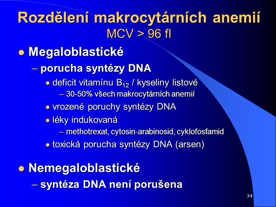 Rozdělení makrocytárních anemií MCV > 96 fl