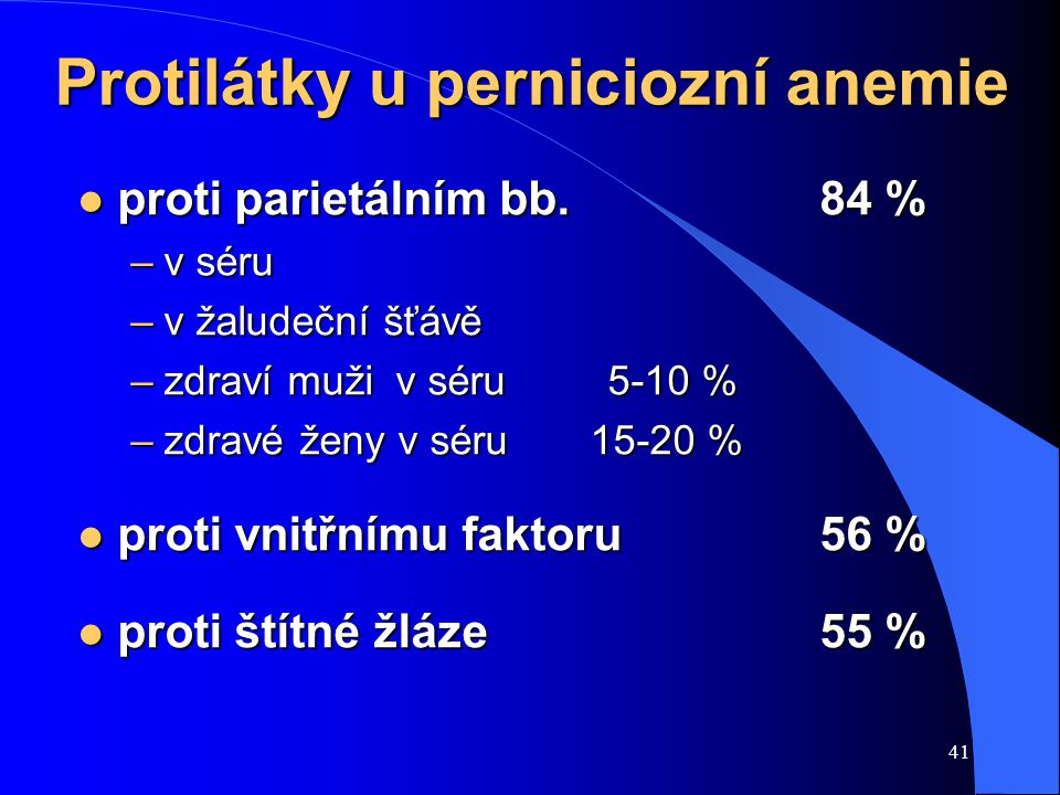 Protilátky u perniciozní anemie