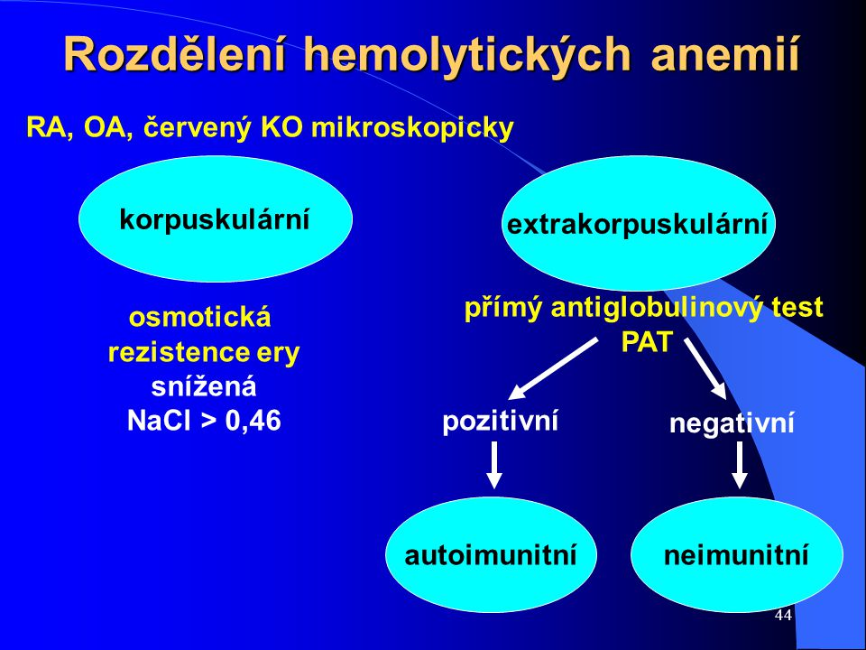 Rozdělení hemolytických anemií