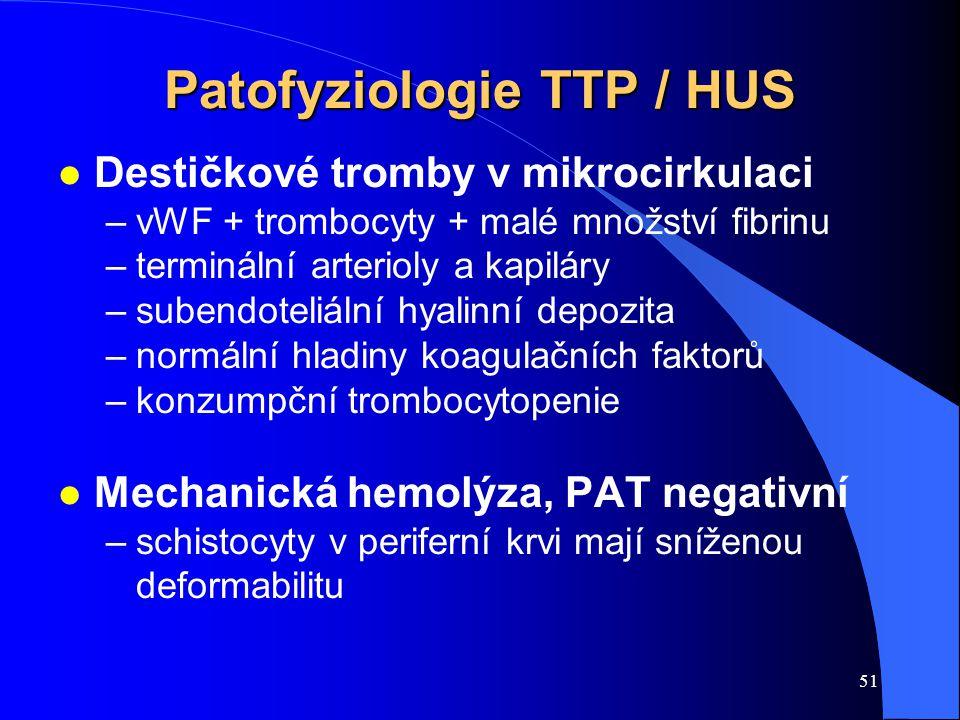 Patofyziologie TTP / HUS