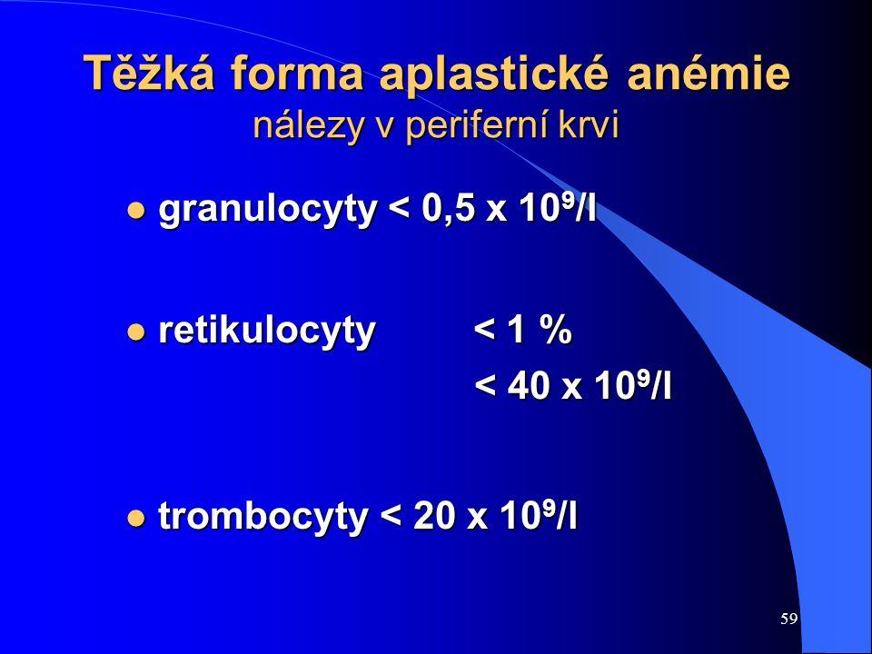 Těžká forma aplastické anémie nálezy v periferní krvi
