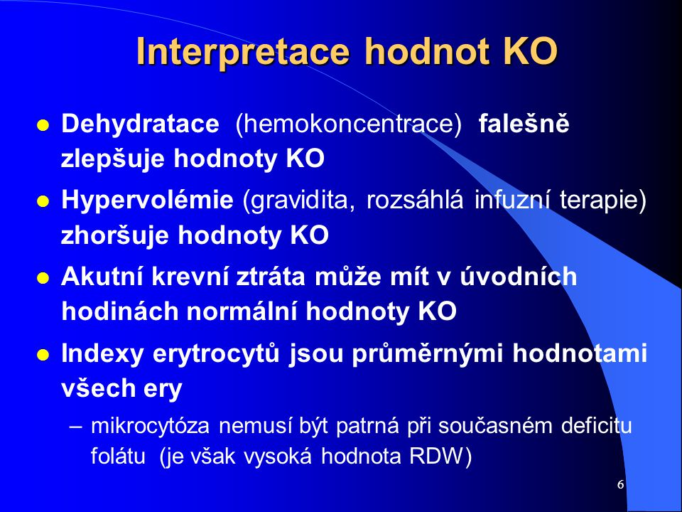 Interpretace hodnot KO