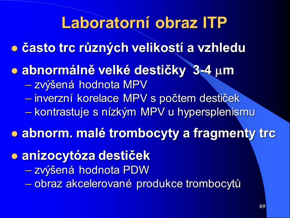 Laboratorní obraz ITP často trc různých velikostí a vzhledu