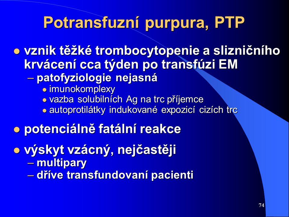 Potransfuzní purpura, PTP