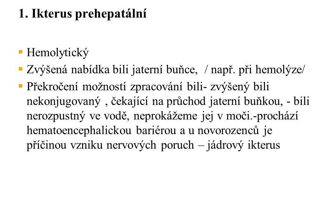 1. Ikterus prehepatální Hemolytický
