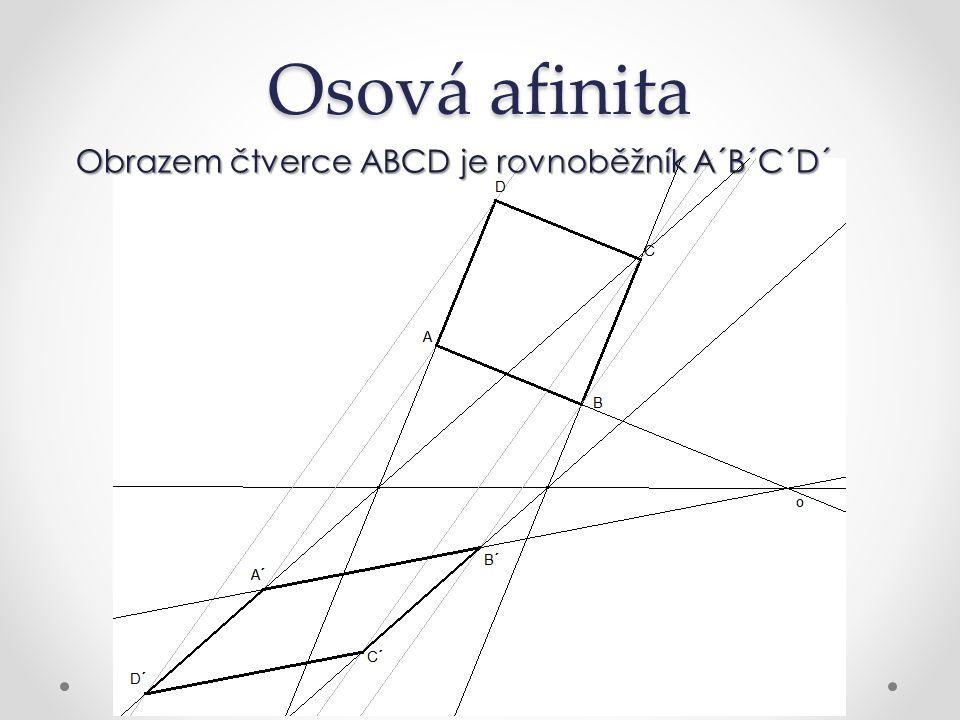 Osová afinita Obrazem čtverce ABCD je rovnoběžník A´B´C´D´