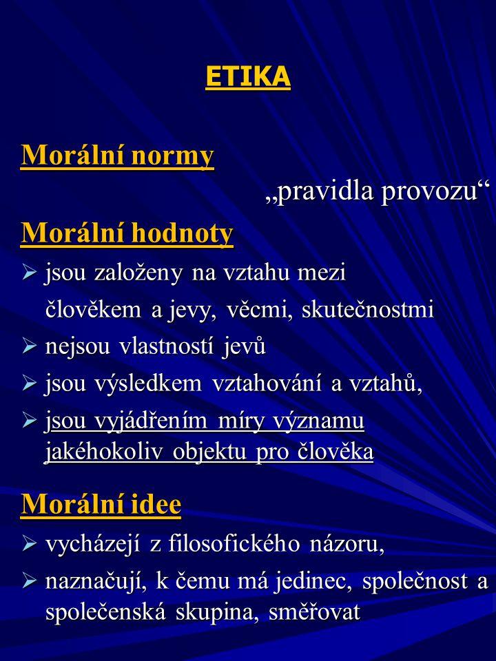 """Morální normy """"pravidla provozu Morální hodnoty Morální idee ETIKA"""