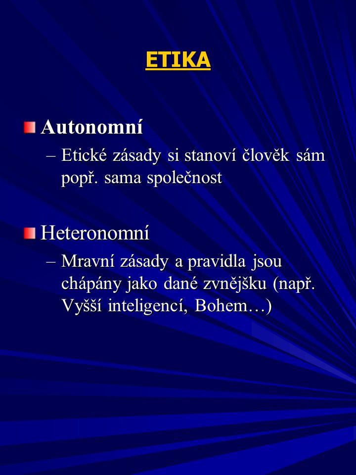 ETIKA Autonomní Heteronomní