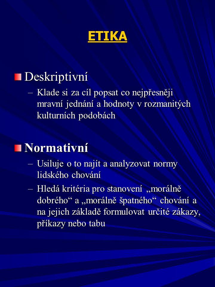 ETIKA Deskriptivní Normativní