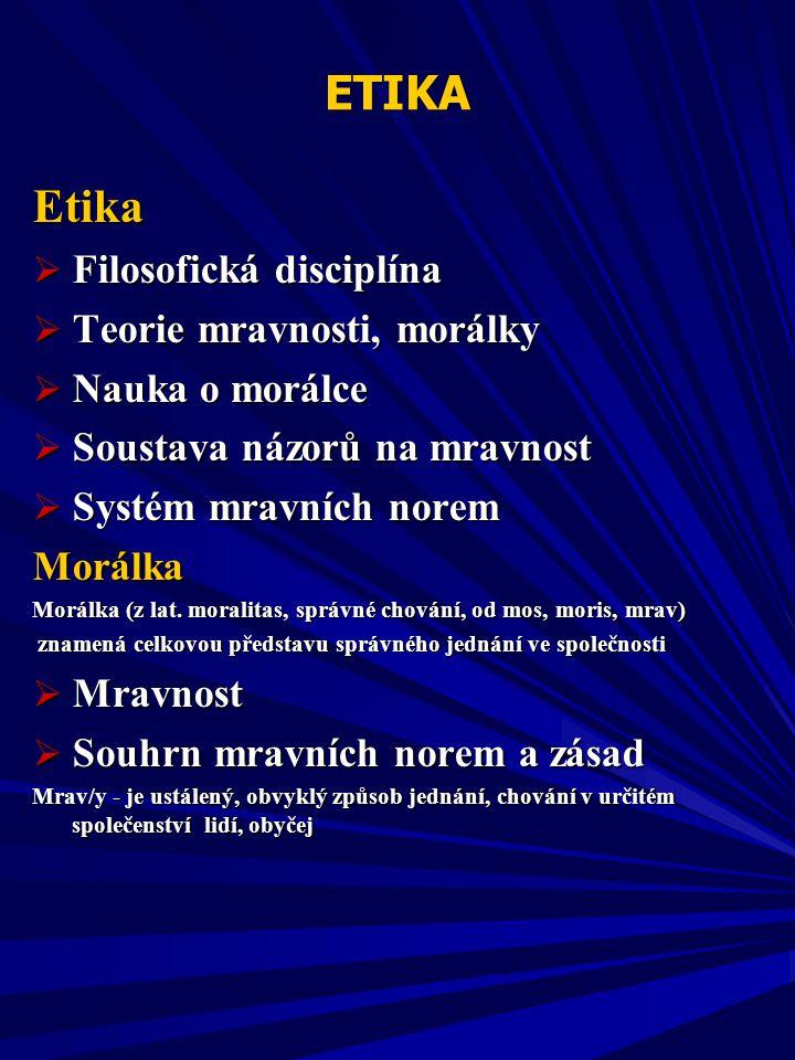 Etika ETIKA Filosofická disciplína Teorie mravnosti, morálky