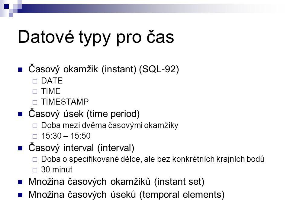 Datové typy pro čas Časový okamžik (instant) (SQL-92)