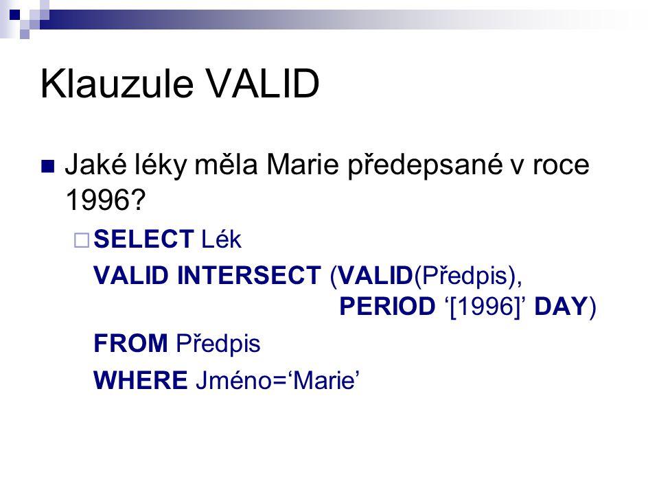 Klauzule VALID Jaké léky měla Marie předepsané v roce 1996 SELECT Lék