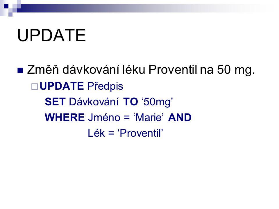 UPDATE Změň dávkování léku Proventil na 50 mg. UPDATE Předpis