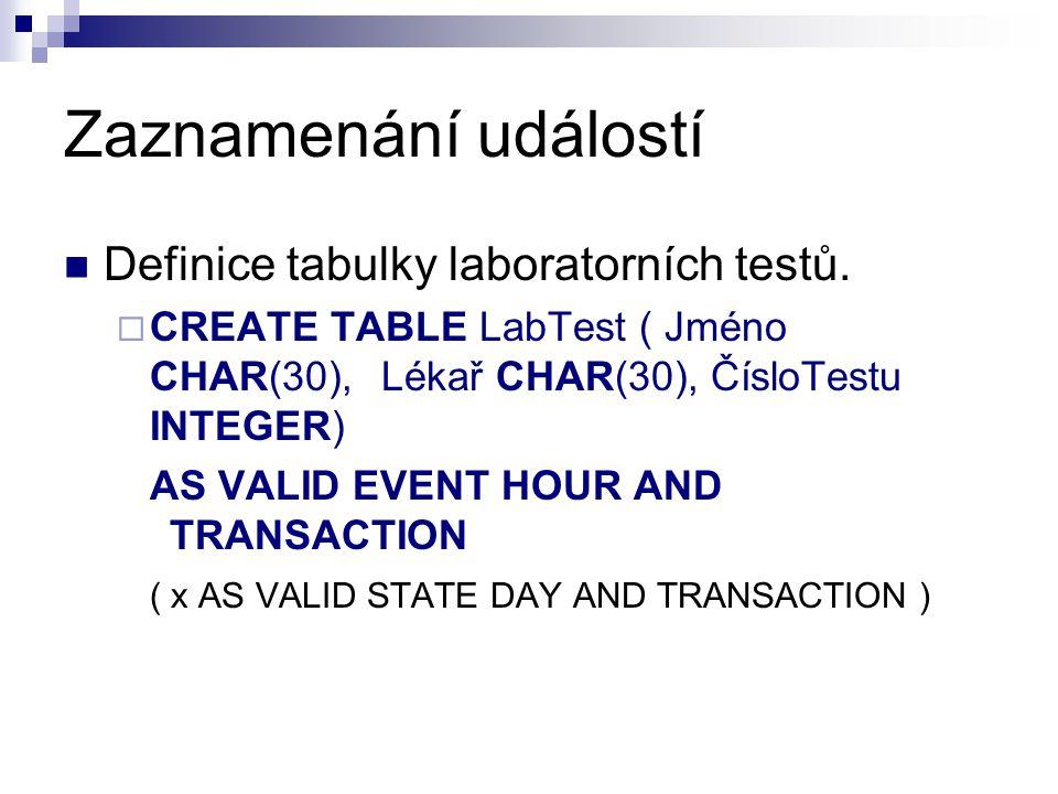 Zaznamenání událostí Definice tabulky laboratorních testů.