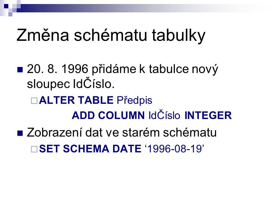 Změna schématu tabulky