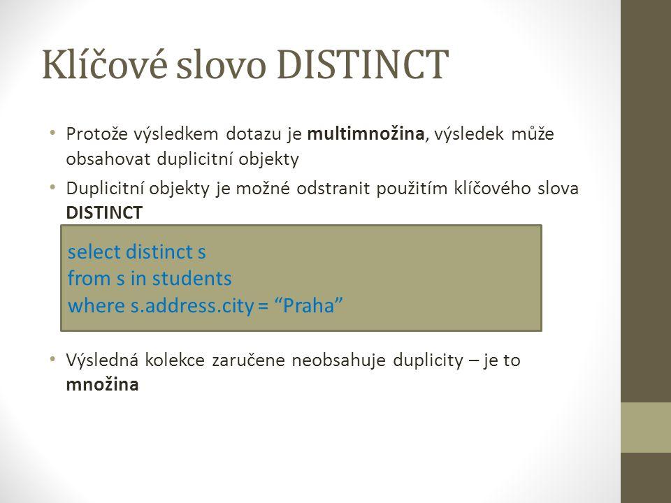 Klíčové slovo DISTINCT